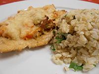 Mozzarellával és bac.sütőtökkel sült csirkemell zöldf.barnar