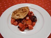 Pulykamell steak fehérboros párolt gyümölccsel