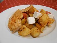 Rozmaringos grillezett csirkemell fetás olivás k.burgonyával