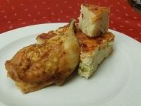 Vajas citromos sült csirkecomb zölds. sajtos rizsfelfújttal