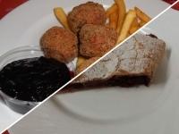 Svéd húsgolyók áfonyával,sült burgonyával és meggyes rétes