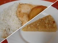 Almás mézes csirkemell jármin rizzsel és mandula torta