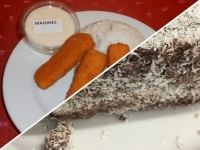 Rántott halrudak jázmin rizzsel, majonézzel és kókusz kocka