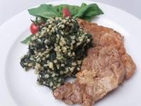 Grillezett sertés szűzérmék spenótos bulgurral