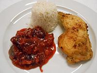 Sült csirkecomb gyümölcsraguval és jázmin rizzsel