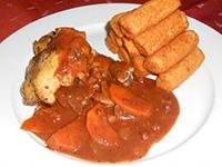 Vörösboros burgundi csirke burgonyakrokettel