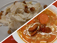 Baranyai kolbászos zöldbab leves és túrós csusza pörccel