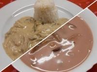 Vörösboros szilvaleves és sztroganoff sertés tokány rizzsel