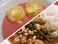 Jogh.málnakrémlev.és csirke pad thai ceruzababbal,kesudióval