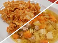 Húsleves gazdagon és krumplis tészta