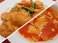 Lebbencsleves és rántott karaj párolt zöldségekkel, rizzsel