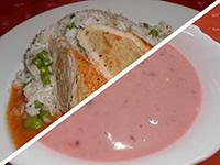 Joghurtos ribizlileves és göngyölt sertés szelet,rizi-bizi