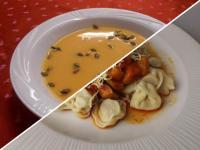 Nar.méz.sütőtök-krémlev.pir.tökmaggal+Tortellini cuk.parmárt
