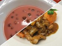 Hideg meggyleves és savanyú édes zöldségekkel párolt csirke