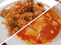 Lebbencsleves és bácskai rizses hús