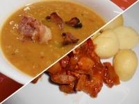 Vöröslencse leves és resztelt sertésmáj főtt burgonyával