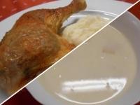 Ananászkrémleves és gödöllői töltött csirke burgonyapürével