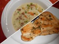 Tárkonyos pulykaraguleves+Rozmaringos sült csirkemell