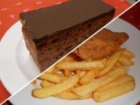 Rántott csirkemell hasábburgonyával, ketchuppal+Rigó Jancsi