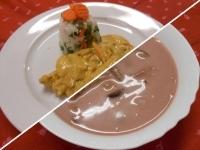 Vörösboros szilvaleves és currys csirke zöldséges rizzsel
