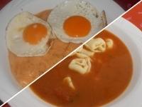 Olasz paradicsomleves tortellinivel és kapros tökfőzelék 2 d