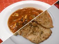 Szecsuáni savanyú-erős leves+Citromborsos sült csirkemell p.