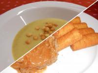 Zöldségkrémleves levesgyönggyel és paprikás krumpli