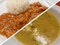 Karalábéleves+Borsos tokány rizzsel