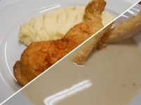 Póréhagyma kréml.+Sült csirkecomb