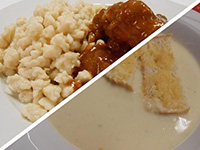 Zellerkrémleves sajtos rúddal és vörösb.kakaspörkölt gal.