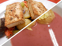 Jogh.málnakrémlev.és grillezett zöldfűsz. tofu, prov.zöldség