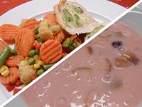 Vegyes gyümölcslev.és sajtos brokk. t. csirkemell zöldséggel