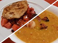 Vöröslencse leves és pulykamell steak párolt gyümölccsel