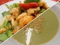 Zöldborsókrémlev.levesgy.+Csirke fajitas kefíres salátával