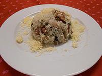 Gombás füstölt sonkás rizottó sajttal