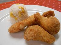 Rántott csirkeszárny kukoricás rizzsel