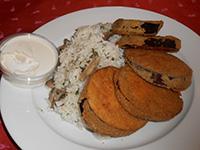 Rántott padlizsán gombás rizzsel+tartár